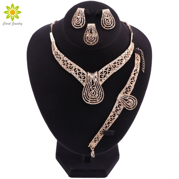 Vintage Flower Crystal Jewelry Sets African Bead Beads Statement Necklace/Earrings/Ring/Bracelet Women Wedding Jewelry