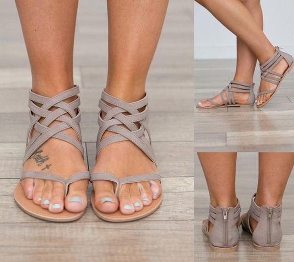 Para mujer zapatos de sandalias de Roma talón plano chanclas de diseño Sandalias vacías Verano transpirable tallas grandes zapatos femeninos Rosa Negro
