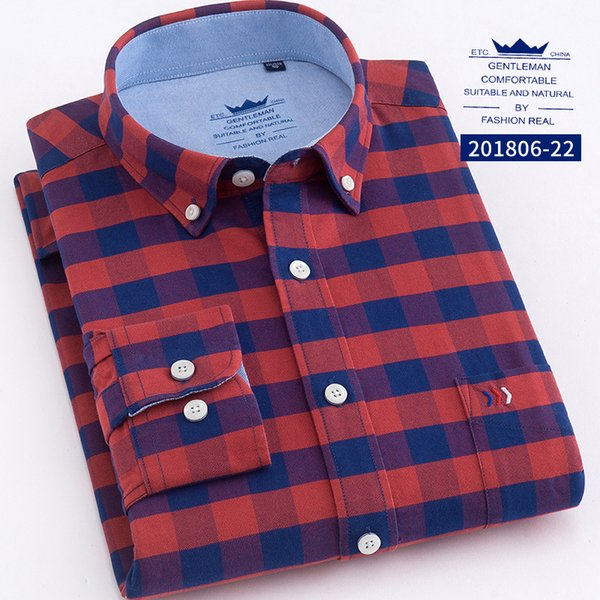 6 Colors New Hot Spring and Autumn Man Cotton Oxford Long-sleeved Square Collar Big Plaid Shirt Youth Men's Clothing WY0001