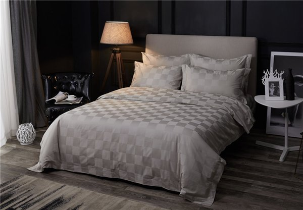 Luxury grey color home hotel bed linen 60S Egyptian Cotton bedding set 4pcs checks lattice duvet cover sets gray bed sheet king