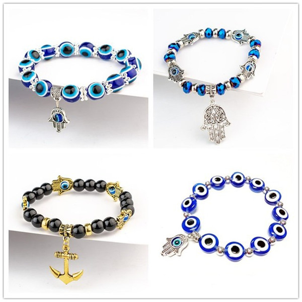 best selling Fatima Hand Hamsa Bracelet Jewelry Women Man Gold Silver Color Fashion Blue Devil Evil Eye Plam Bell Beaded Anchor Charm Bracelets for Girls