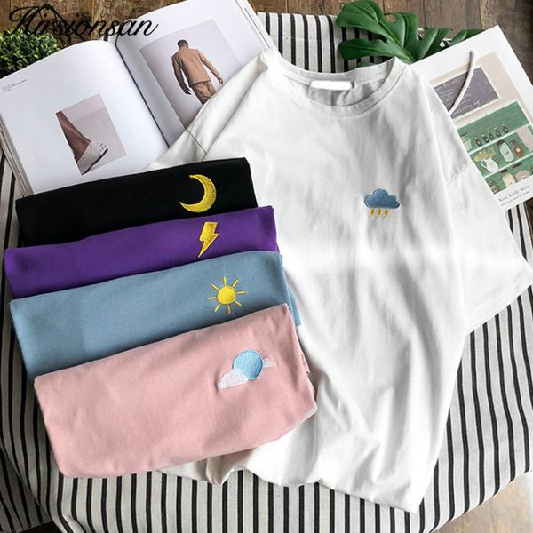 Hirsionsan Harajuku Summer Short Sleeve T Shirt Women Casual Weather Embroidery Tshirt Female Korean Cute Cotton Tops Tees Q190522