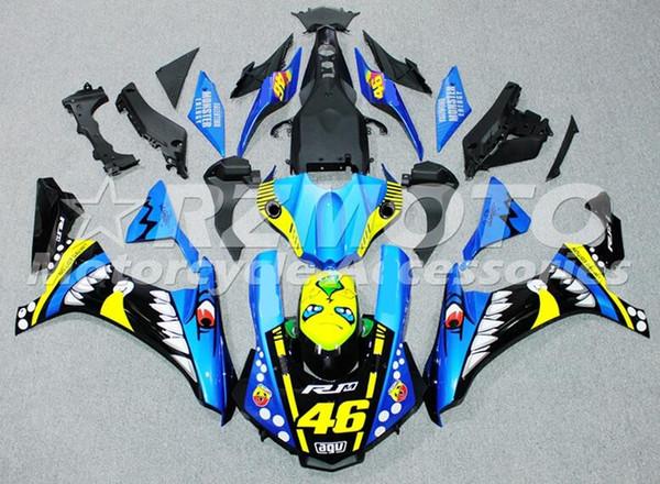 Nouveau carénage de moto ABS de moulage par injection apte pour YAMAHA YZF-R1 2015 2016 YZF R1 15 16 YZF1000 kits de carénage personnalisé bleu jaune