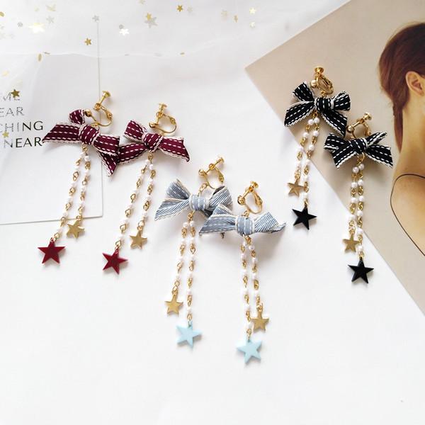 Pince à cravate papillon Bowknot Ribbon Lace-up sur boucles d'oreilles sans piercing Crytal longue chaîne de perles Star Clip Boucle d'oreille pour les femmes