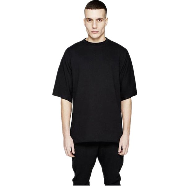 Men Kanye West Oversized Blank Tshirt Hip Hop 2017 New Short Sleeve Tee Shirts Male Summer Tops Streetwear Plus Size T-shirts C19041101