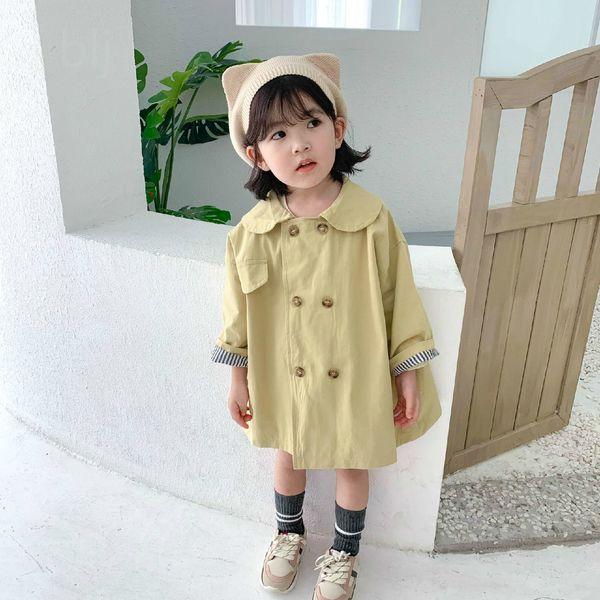 top popular New Children's Garment Girl Both Row Buckle A Doll Lead Cotton Stripe Inside Long Fund Windbreaker Loose Coat Autumn Jackets 2020