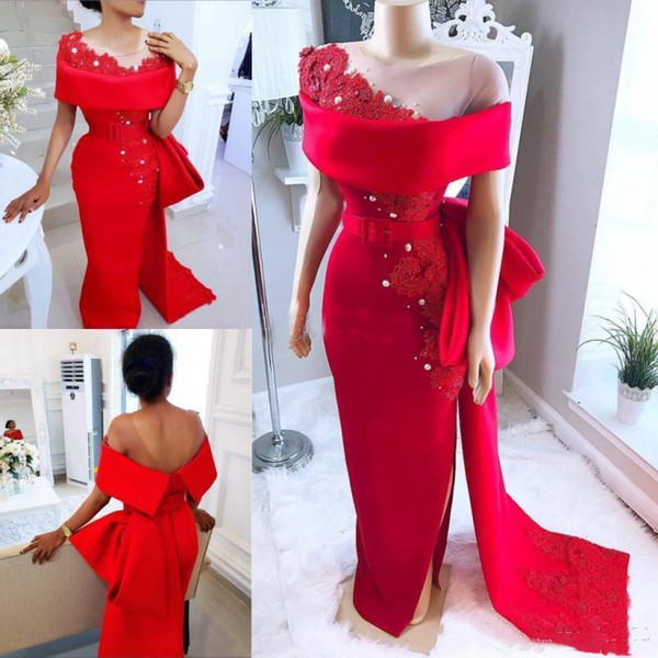 Graceful Red Sheath Evening Dresses Latest 2019 Sexy Side high Slit Fashion Design Open Back Arabic Dubai Prom Dresses Lace Pearls Beaded