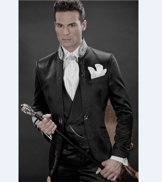 Newest Long Pattern Embroider Groomsmen Mandarin Lapel Groom Tuxedos Men Suits Wedding/Prom/Dinner Best Man Blazer(Jacket+Pants+Tie+Vest)