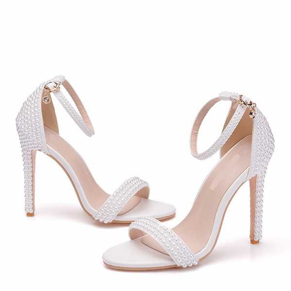Handmade White Pearl Wedding Sandals Open Toe High Heel Party Prom Shoes Summer Sandals 4 Inches Bridesmaid Shoes Shoes Shop Sparkly Shoes From