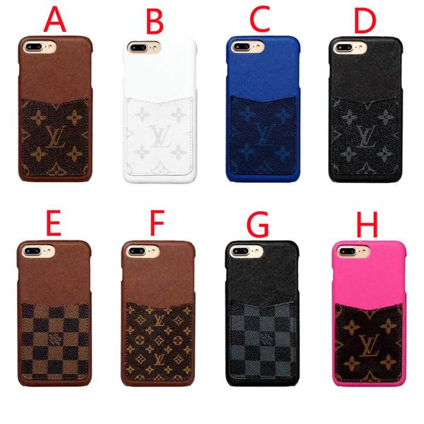 Novo design do bolso do cartão para iphone x xres xs max phone case rígido shell carta marca design para iphone 6 6 plus 7 7 plus 8 8 plus case azul preto