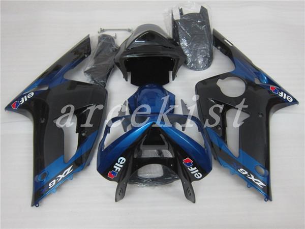 Novos kits de carenagem ABS 100% apto para 03 04 ZX 6R 636 2003 2004 kawasaki Ninja ZX6R ZX636 carenagens personalizadas conjunto preto azul