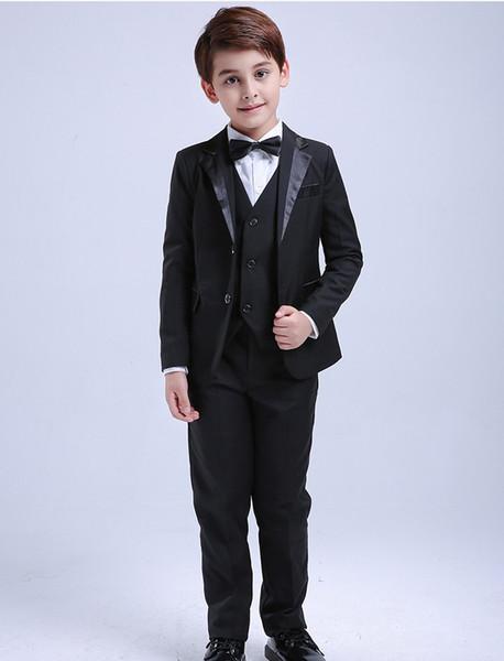 2019 Fashion Summer Beach 4Pcs Toddler & Boys Formal Children Tuxedo Wedding Party Suit Black Boys Suits (Jacket+Pants+Vest+Bow Tie)