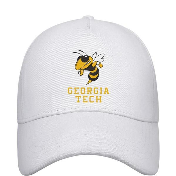 Женские мужские плоские регулируемые футболки GA Tech Yellow с футбольным логотипом Панк Хип-хоп Хлопковая бейсбольная кепка Гольф-кадет Армейские кепки Воздушные шляпы с сеткой