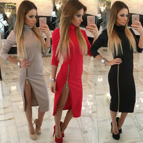 2019 Yüksek Boyun Kadınlar Elbise Bahar Uzun Kollu Biçimsel Nedensel Elbise Fermuar Midi Elbiseler Seksi Elegant tasarımcı kıyafetleri