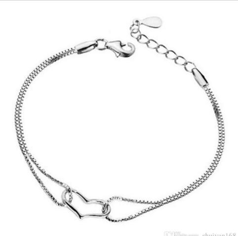 DHL Silver Heart love Link Chain Charm Bracelet for women wedding party Jewelry Bracelet Event Supplies