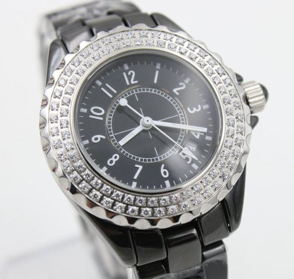 Popular Sale Quartz Watch Women Diamond Case Black Dial Ceamic Band Female Wristwatches