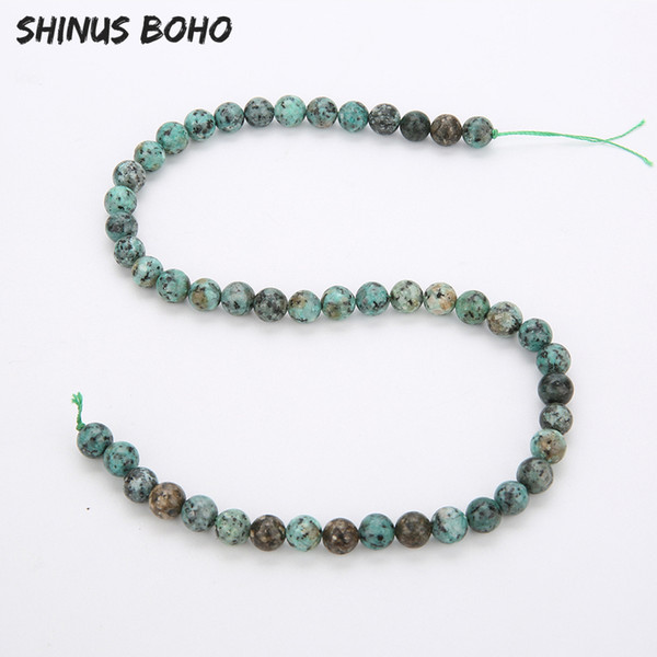 SHINUSBOHO 4/6/8/10/12mm Natural Dull Polish Matte African Green Turquoises Howlite Stone Beads for Jewelry Making