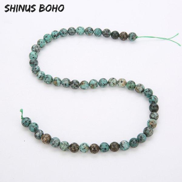SHINUSBOHO 4/6/8/10 / 12mm Natural Dull Polish Matte African Green Turquoises Howlite Perles en pierre pour la fabrication de bijoux