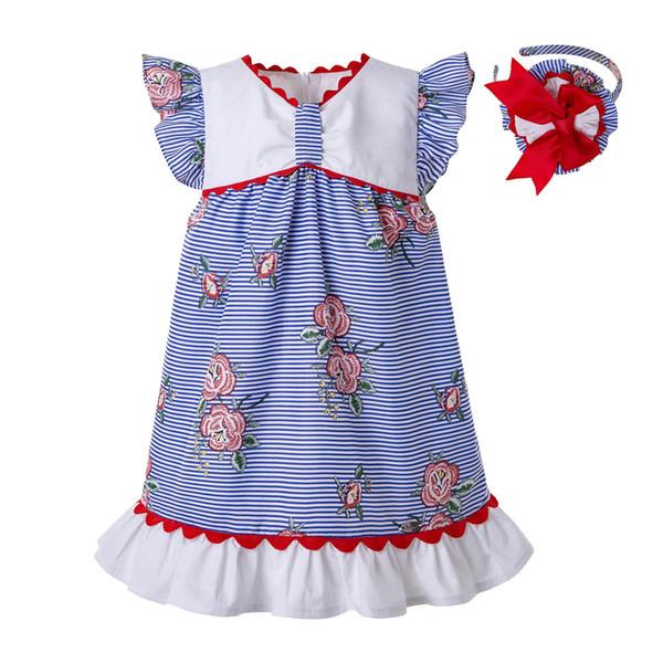 Pettigirl Sommer Blau Rose Streifen Gedruckt Hauchhülse Wove Design Baby Mädchen Kleider Beiläufige Kinder Kleid Boutique Kleidung G-DMGD203-65