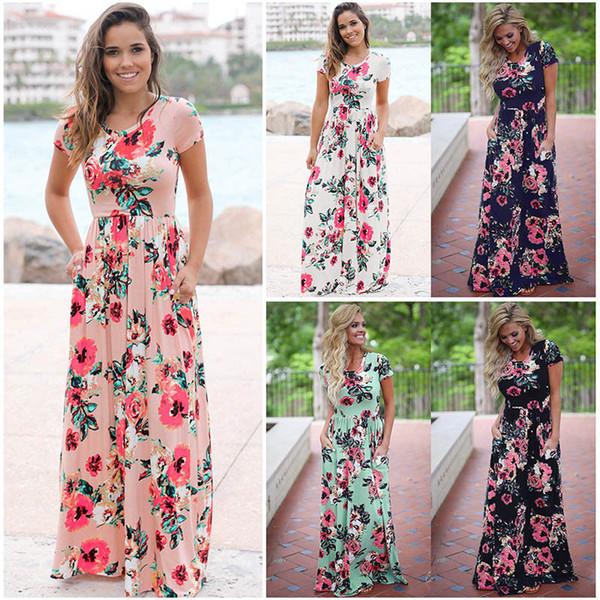 Floral Print Boho Beach Dress 5 Colors Summer Short Sleeve Pocket Long Maxi Dress Evening Party Dresses LJJO6977