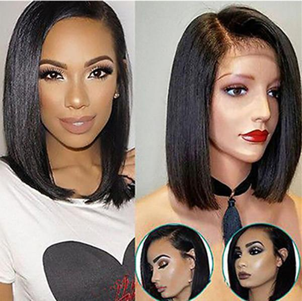 Bob Wigs Peruvian Lace Front Human Hair Wigs For Black Women Natural Color Remy Straight Short Lace Front Wigs