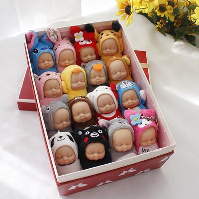 Bonito Totoro brinquedos de pelúcia com Chaveiro Dormir Chaveiros Boneca Chaveiro Para As Mulheres Saco de Bebê Acessórios Chave Do Carro Chaveiro Pompom bonecas para crianças