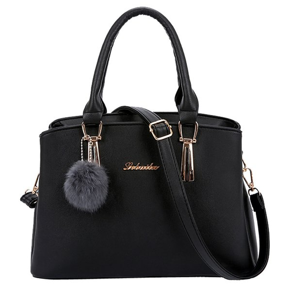 Women Hairball Shoulder Bag Office Ladies Leather Tote Simple Style Large Capacity Top-handle Hand Bags
