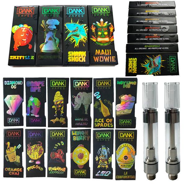 M6T Ologramma Black Dank Vapes Cartuccia Confezione da 0,8 ml 1 ml Cartuccia di svuotamento di ceramica Cartucce per penna vaporizzatore ad olio spesso Sigarette 510 Batteria