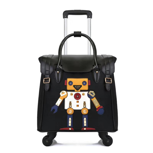 """KAWEIDA 18"""" girls carry on vintage suitcase spinner small trolley case luggage travel bag with wheel"""