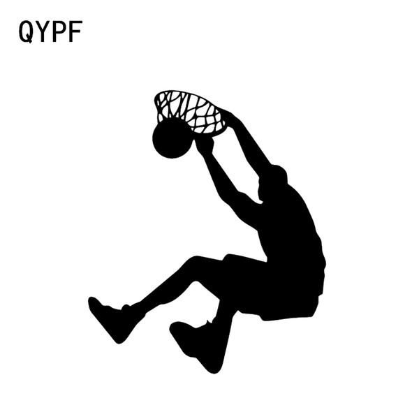 QYPF 12.4 * 14.8 CM Jugador de baloncesto Slam Dunk Decor Etiqueta engomada del coche de alta calidad de vinilo movimiento extremo C16-0482