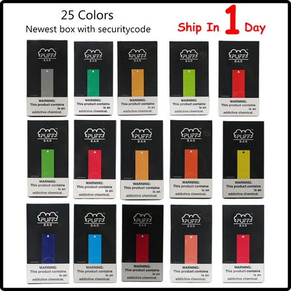 top popular Newest Packaging Puff Bar Disposable Device 1.3ml Pod Kit 280mAh Battery with Security Code posh pod vape pen 2021