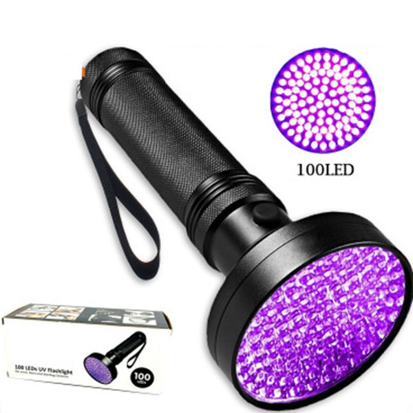 3W UV Black Flashlight 100 LED, la mejor luz UV para la inspección del hotel, manchas de orina para mascotas LED proyectores LJJZ445