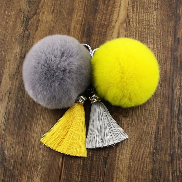 Off-the-shelf rex bola de pêlo de coelho keychain jóias de borla de seda gelo real bola de pêlo saco de bola pingente