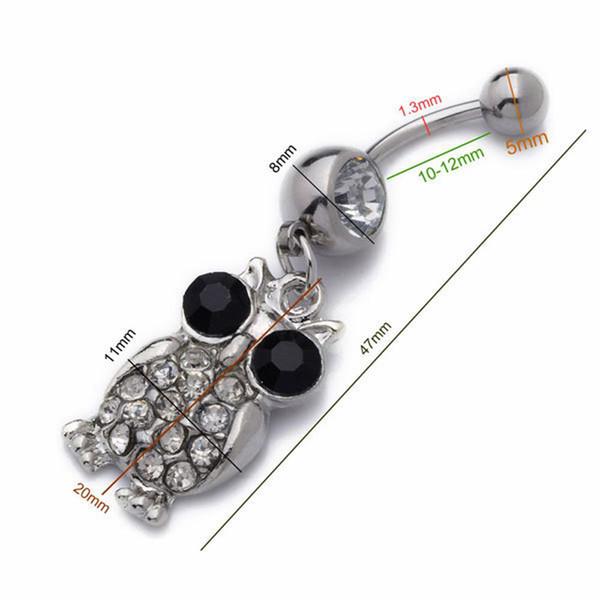 Mescolare all'ingrosso 10 pz / lotto acciaio inossidabile di cristallo gufo ombelico anelli di pancia piercing monili del corpo di cristallo di colore piercing all'ombelico
