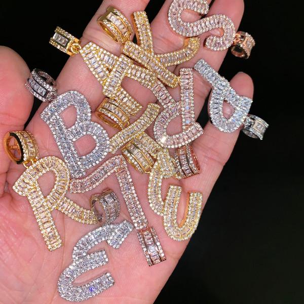 Helado Baguette Iniciales Letras Cadena Colgante de Hip Hop Oro Plata Bling Zirconia Hombres Joyería Colgante de Hip Hop