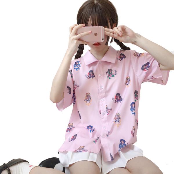 louses & Shirts Harajuku Women Blouse Short Sleeve Sailor Moon Print Shirt Lolita Girls Loose Blouses Pink Tops Anime Summer Tee Whol...