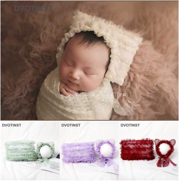 Dvotinst Yenidoğan Bebek Fotoğraf Dikmeler Yumuşak Dantel Bonnet Hat + Posing Yastık Seti Fotografia Aksesuarlar Stüdyo Çekimleri Fotoğraf aksesuvar