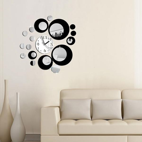 2015 New DIY Circles Design Acrylic Mirror Effect black Silver Wall Clock Mural Decal Movement Decor