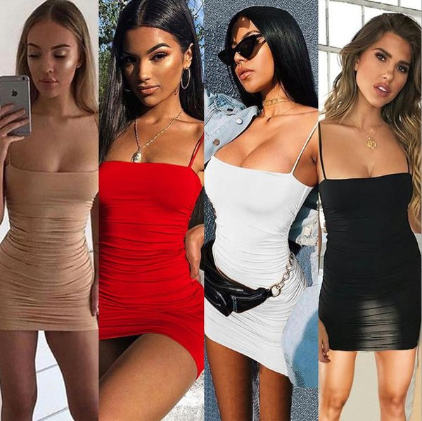 Sexy Club Dress 2019 Лето Женская Юбка Сплошной Цвет Слинга Плиссированные Бедра Платье Модные Платья для Женщин