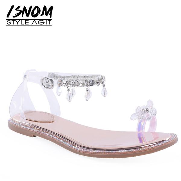ISNOM Sandálias Planas Mulher Sandálias de Verão Mulheres 2019 Casual Transparente Pvc Flip Flop Sapatos Femininos Sapatos de Tira No Tornozelo de Cristal Menina