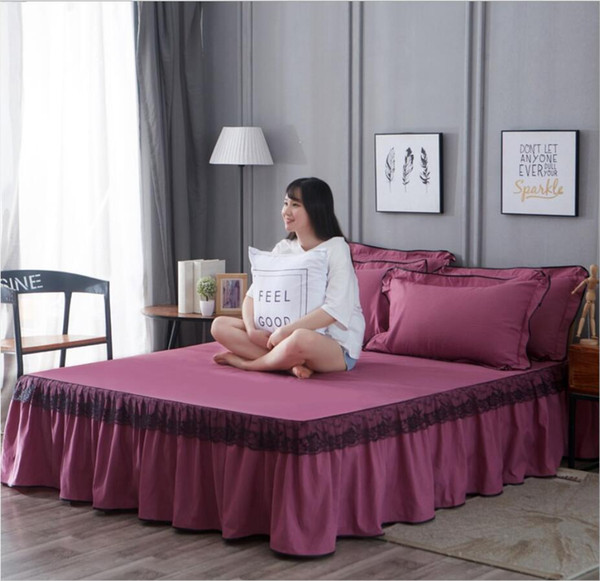 3pcs/set Blue Pink Beige Lace Bed Skirt Solid Princess Bedspread Pillowcases Korean Fitted sheet 1.5/1.8/2.0 Mattress Cover