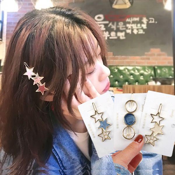 Clips 2-4Pcs / Set Moda brillante Metal Star strass Barrette di capelli della lega per le ragazze ornamento dei capelli della forcella che designa gli accessori