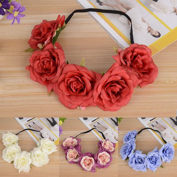 Fashion Headband Bride Head Wreath Elastic Bridesmaid Bridal 1PC Wedding Floral Crown Big Flower Female Gift Hair Accessories