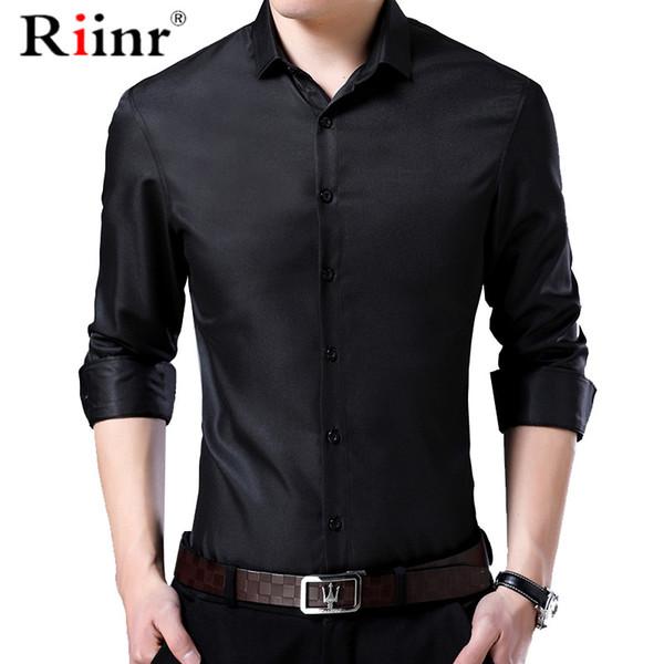 Camisa dos homens Gola Mandarim Nova Moda de Manga Comprida Clássica Camisa Sólida Dos Homens Slim Fit Vestido de Negócios Camisa Masculina