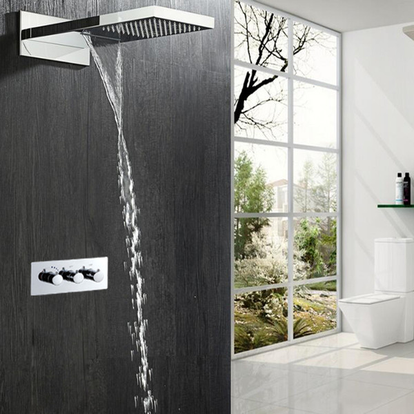 Most Complete Shower Set 2 Functions Luxurious Bath System Large Waterfall Dual Rain water Concealed Showerhead bathroom accessory