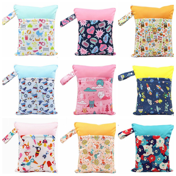Diaper Bags Printed Pocket Nappy Bags Double Pocket Cloth Handle Wetbags Reusable Wet Dry Bags Latest 37 Designs Wholesale DHW3123