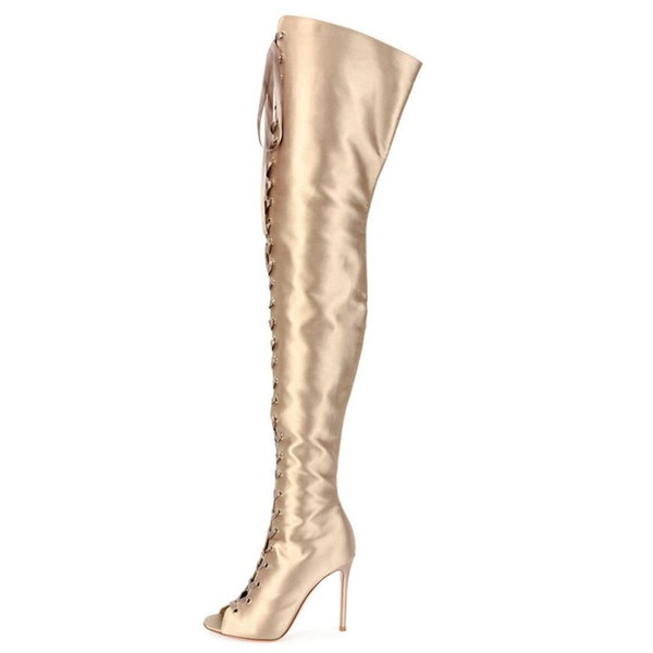 Fashion Slim Boots Sexy Over The Knee High Women Fashion Thigh High Boots Gladiator Shoes Woman Lace Up Peep Toe Shoes