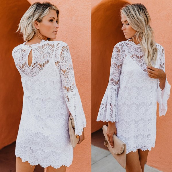 2019 Puseky Sexy Women Lace Dress O Neck Flare Sleeve Loose Fit Short Dress Hollow See Throu Mini White Fairy Summer From W245 334 Dhgatecom