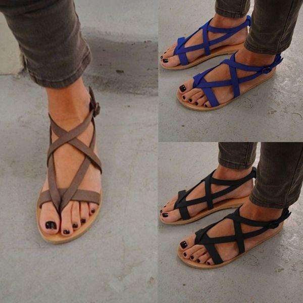 Diseñador de sandalias para mujer de diapositivas de gran tamaño romana plana de tacón para mujer sandalias nuevos zapatos para mujer de verano 35 a 43 envío gratis caliente moda 3 color
