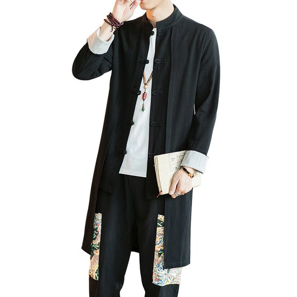 #4002 Chinese Style Trench Coat For Men Long Coat Linen Cotton Mandarin Collar Vintage Windbreaker Fake Two Pieces Plus Size 5XL